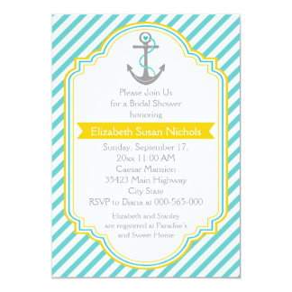 Anchor aqua, yellow nautical wedding bridal shower 5x7 paper invitation card