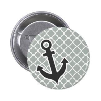 Anchor Ash Gray Grey Quatrefoil Pinback Button