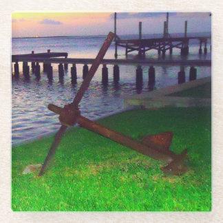 Anchor at Sunset Glass Coaster