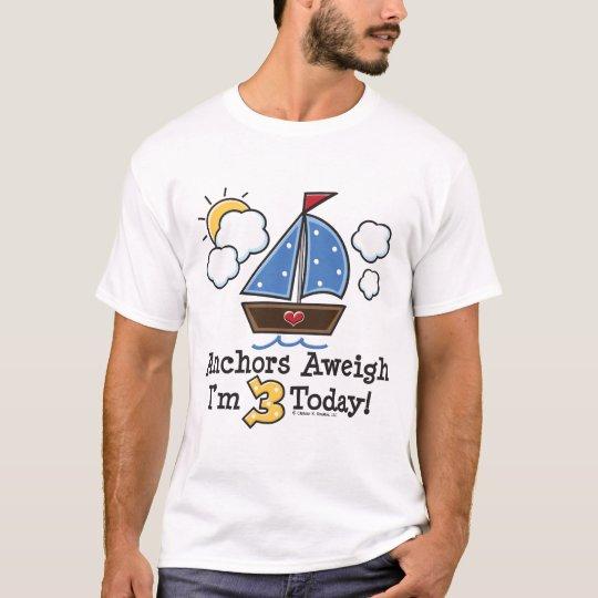 Anchor Away Sailboat 3rd Birthday Tee