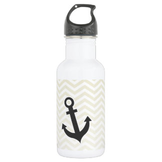 Anchor; Beige Chevron; zig zag Water Bottle