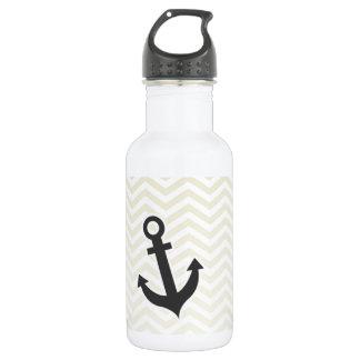 Anchor; Beige Chevron; zig zag Water Bottle