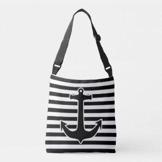 Anchor black with white contour + your ideas crossbody bag