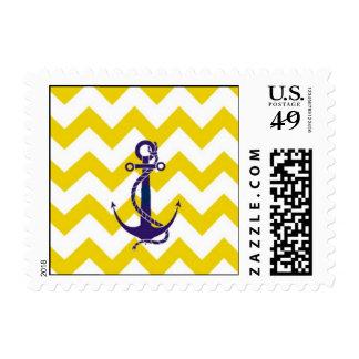 Anchor Blue | Chevron Postage Stamp