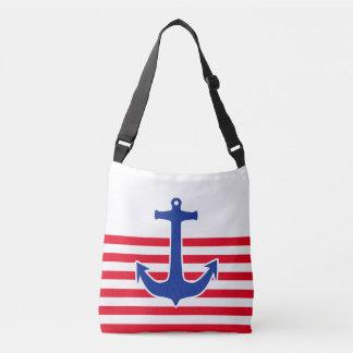 Anchor blue / Contour white + your ideas Crossbody Bag