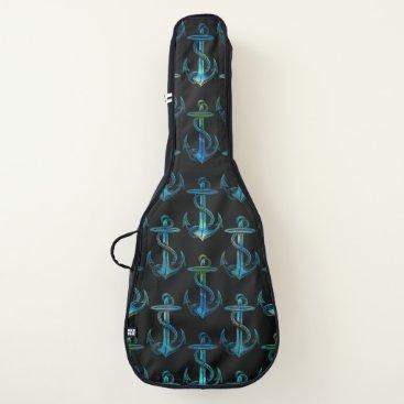 Beach Themed Anchor Blue Green Black Guitar Bag