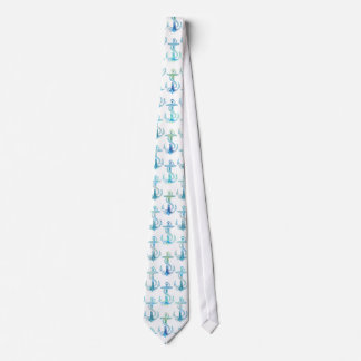 Anchor Blue Green White Tie