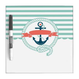 Anchor, blue,red, Nautical retro sailor girly Dry-Erase Board