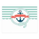 Anchor, blue,red, Nautical retro sailor girly Post Card