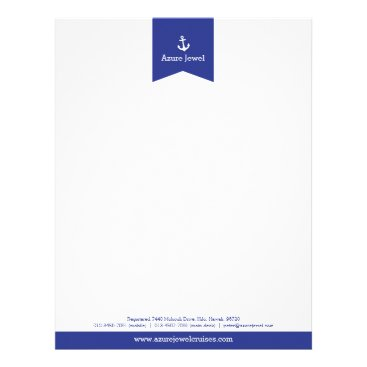 Professional Business Anchor blue ribbon sailing business letterhead
