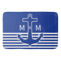 Anchor blue / white Contour + your ideas Bath Mat