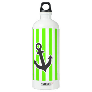 Anchor; Bright Green Stripes; Striped Aluminum Water Bottle