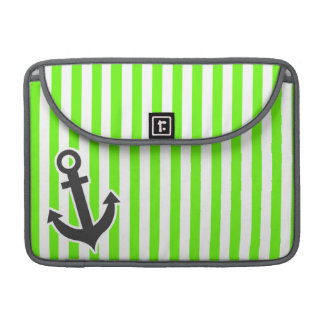 Anchor; Bright Green Stripes; Striped Sleeves For MacBook Pro