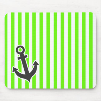 Anchor; Bright Green Stripes; Striped Mouse Pad