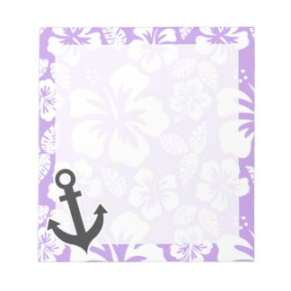 Anchor; Bright Lavender Tropical Hibiscus Notepad