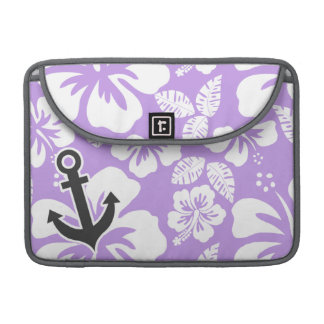 Anchor; Bright Lavender Tropical Hibiscus Sleeve For MacBooks