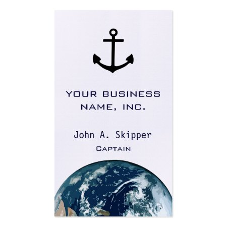 Sail the World Anchor Silhouette Captain's Business Cards