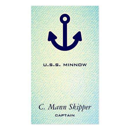 Light Aqua Blue Textured Print Anchor Icon Nautical Business Cards