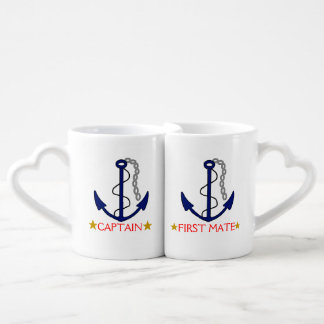 Anchor-Captain and First Mate 50th Anniversary Couples' Coffee Mug Set