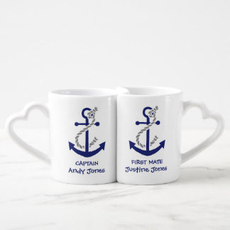 Anchor Captain and First Mate Coffee Mug Set
