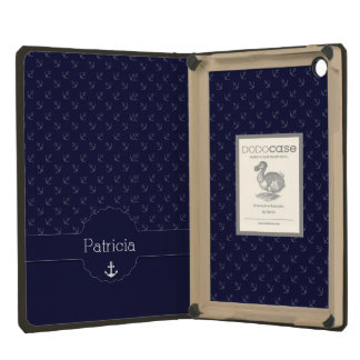 anchor captain sailor nautical pattern and names iPad mini covers