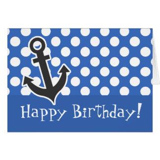 Anchor; Cerulean Blue Polka Dots Greeting Card