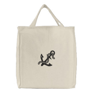Anchor & Chain Nautical Pirate Navy Coast Guard Embroidered Tote Bag