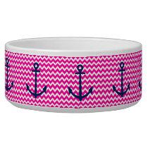 Anchor Chevron Nautical Pink and Navy Bowl