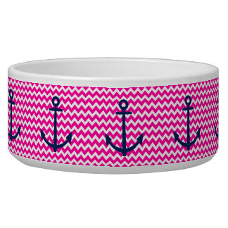 Anchor Chevron Nautical Pink and Navy Bowl
