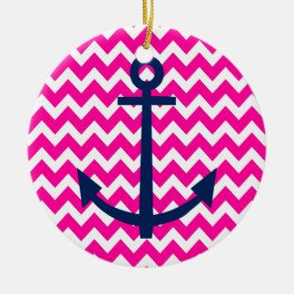 Anchor Chevron Nautical Pink and Navy Ceramic Ornament