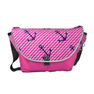 Anchor Chevron Nautical Pink and Navy Messenger Bags