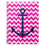 Anchor Chevron Nautical Pink and Navy Notebook