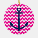 Anchor Chevron Nautical Pink and Navy Double-Sided Ceramic Round Christmas Ornament
