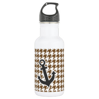 Anchor; Chocolate Brown Houndstooth Water Bottle