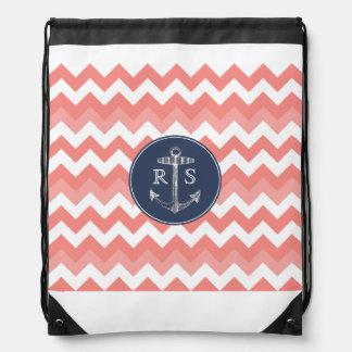 Anchor Coral Chevron Navy Monogram String Backpack