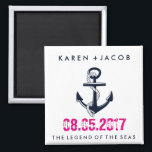 """Anchor Cruise Ship Wedding Favor Magnets<br><div class=""""desc"""">Customizable wedding on a cruise ship nautical anchor wedding favor magnets. Customize with your names, wedding date and ship name. A great gift to send you wedding guests home with to remind them of your wedding cruise. To further customize, change font style, size or ink color - use the customize...</div>"""