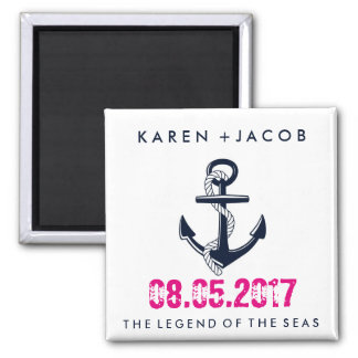 Anchor Cruise Ship Wedding Favor Magnets 2 Inch Square Magnet