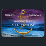 "Anchor Cruise Stateroom Door Marker Anniversary Magnet<br><div class=""desc"">cruise anchor wedding anniversary water gold ship ocean cruise trip stateroom door marker couple coupless</div>"