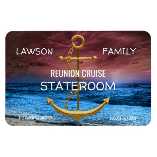Anchor Cruise Stateroom Door Marker Family Reunion Magnet