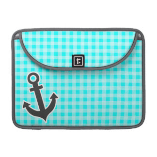 Anchor; Cyan Gingham; Checkered Sleeves For MacBooks