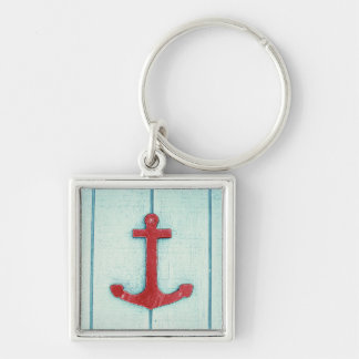 Anchor Décor Silver-Colored Square Keychain