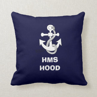 Anchor design, HMS HOOD Throw Pillow