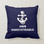Anchor design, HMS INDEFATIGABLE Throw Pillow