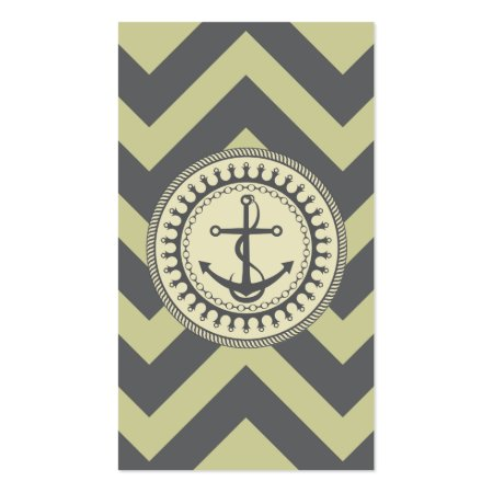 Moss Green Chevron Anchor Emblem Nautical Business Cards