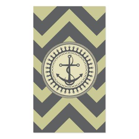 Moss Green Chevron Anchor Emblem Nautical Business Cards