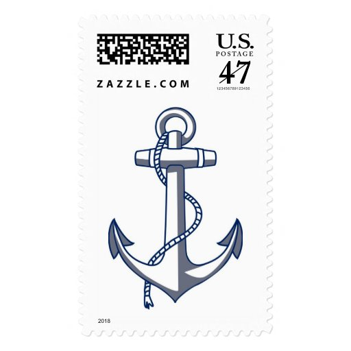 Anchor Drawing Nautical Wedding Theme Navy Blue Postage