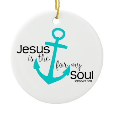 Christmas Themed anchor for my soul ceramic ornament