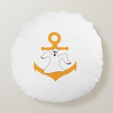 Halloween Themed Anchor ghost Halloween Round Pillow