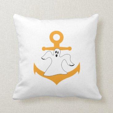 Halloween Themed Anchor ghost Halloween Throw Pillow