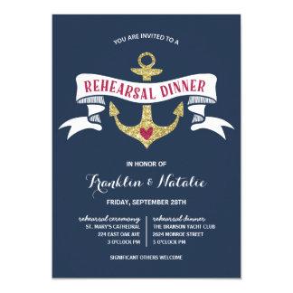 Anchor Glitter-Look Nautical Rehearsal Dinner Card